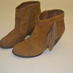 Tan Mossimo Fringe Ankle Booties size 10